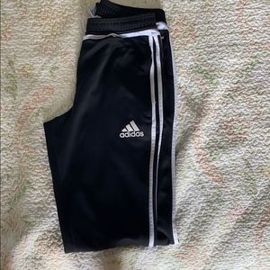 black and white striped adidas pants